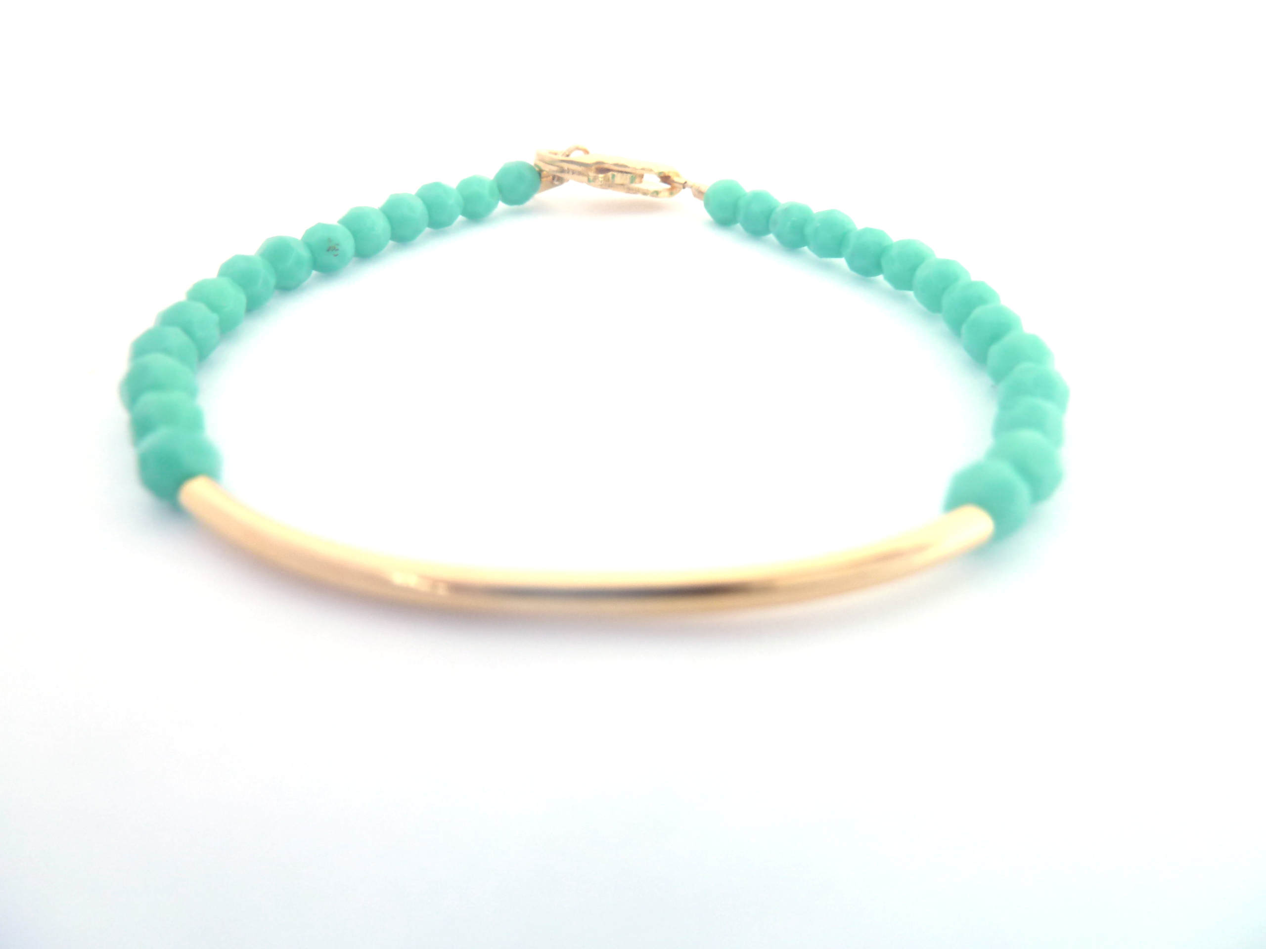 Mint Turquoise Bracelet Gold Bar Beaded Jewelry Opaque Gl Friendship